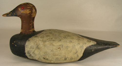John D Wahl Antiques Large Carved And Painted Wooden Duck Decoy